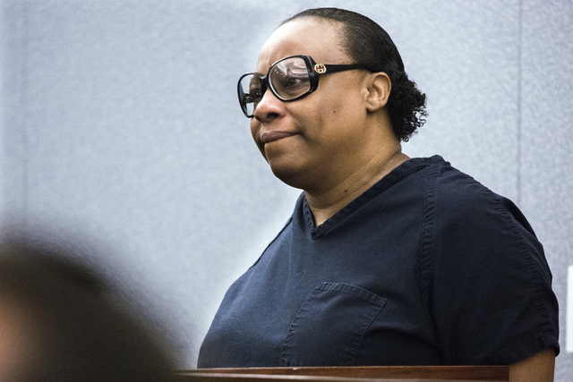 Brenda Stokes Wilson, convicted of killing a 10-year-old girl and slashing a Bellagio blackjack dealer, appears at her sentencing at Regional Justice Center on Monday, May 16, 2016. She received a ...