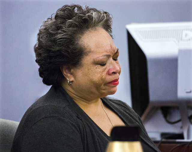 Claudette Jones, grandmother of murder victim 10-year-old Jade Morris, pauses while making a victim statement during the sentencing of Brenda Stokes Wilson at Regional Justice Center on Monday, Ma ...