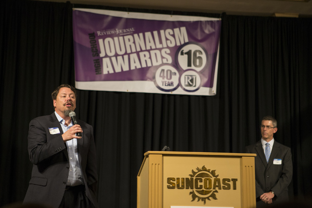 Clark County Superintendent Pat Skorkowsky, left, speaks as Review-Journal Managing Editor Glenn Cook looks on during the Clark County High School Journalism Awards in Las Vegas on Friday, May 20, ...