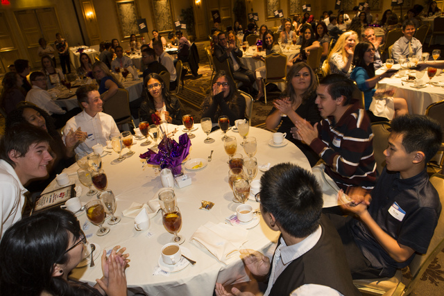 Spring Valley High School student journalists react after placing first in the general excellence category in the Clark County High School Journalism Awards in Las Vegas on Friday, May 20, 2016. C ...