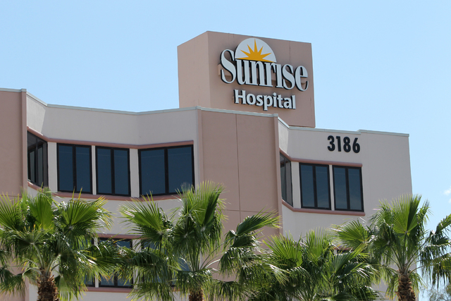 Sunrise Hospital and Medical Center, 3186 South Maryland Parkway, in Las Vegas is seen on Tuesday, April 21, 2015. (Erik Verduzco/Las Vegas Review-Journal) Follow Erik Verduzco @Erik_Verduzco