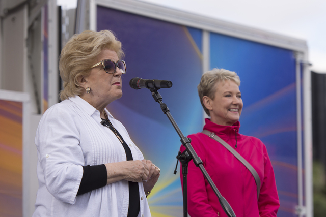 Las Vegas Mayor Carolyn Goodman, left, speaks to participants at the Susan G. Komen Race for the Cure in downtown Las Vegas on Saturday, May 7, 2016. Recently retired KLAS-TV Channel 8 news anchor ...