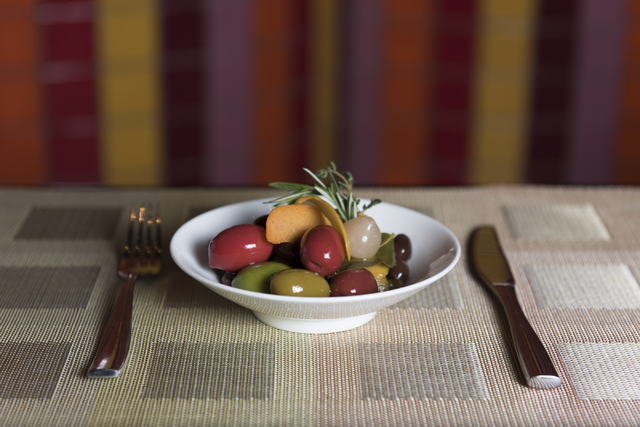 Marinated olives are seen at Julian Serrano Tapas at the Aria hotel-casino in Las Vegas Wednesday, April 13, 2016. Jason Ogulnik/Las Vegas Review-Journal