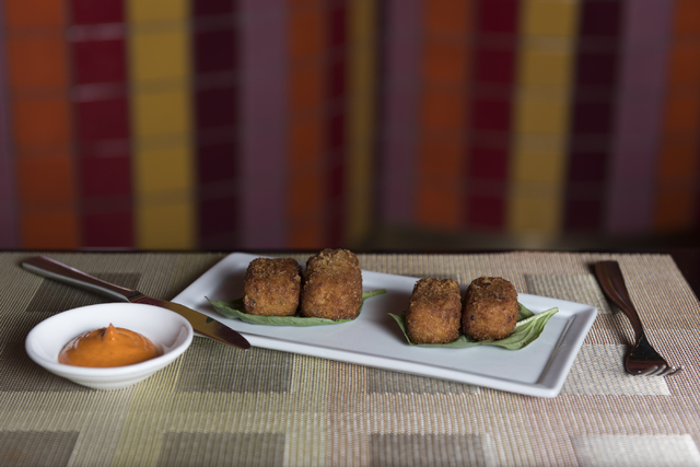 Chicken croquettes are seen at Julian Serrano Tapas at the Aria hotel-casino in Las Vegas Wednesday, April 13, 2016. Jason Ogulnik/Las Vegas Review-Journal