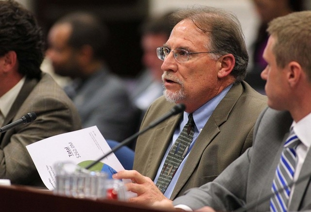 Mike Willden, chief of staff for Gov. Brian Sandoval, testifies in a joint money committee hearing at the Legislative Building in Carson City, Nev., on Thursday, May 21, 2015. Lawmakers heard deta ...