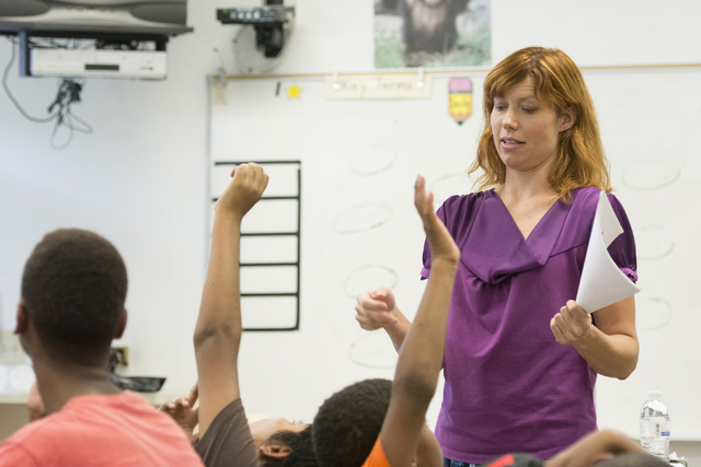 Temple Forsythe, a student teacher, conducts a science lesson at John C. Fremont Middle School in Las Vegas, Friday, June 26, 2015. (Jason Ogulnik/Las Vegas Review-Journal)