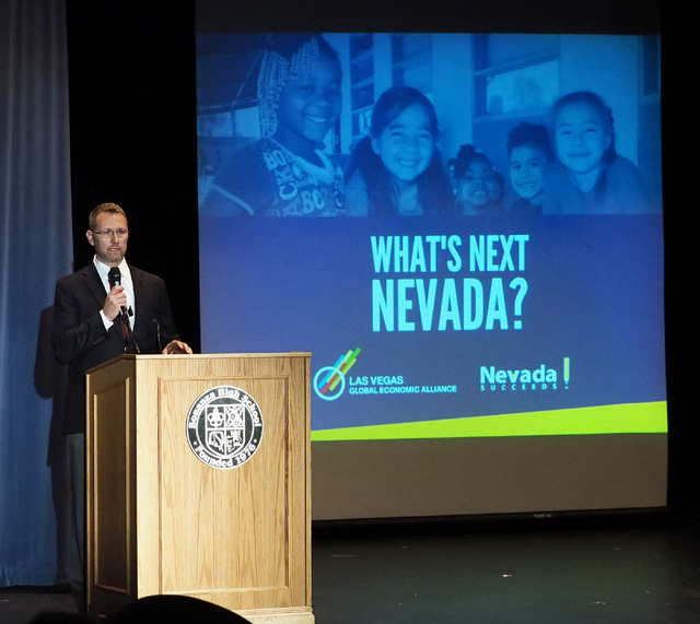 "Brent Husson of the nonprofit group Nevada Succeeds speaks at the opening of the ""What's Next Nevada?"" event, where recommendations to fix the state's teacher shortage were unvei ..."