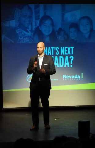 "Jonas Peterson of Las Vegas Global Economic Alliance speaks during the ""What's Next Nevada?"" event, where recommendations to fix the state's teacher shortage were unveiled at Bon ..."