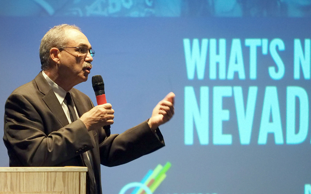 "John Vellardita, executive director of the Clark County Education Association, speaks about the ""What's Next Nevada?"" project at Bonanza High School in Las Vegas, Tuesday, May 17 ..."
