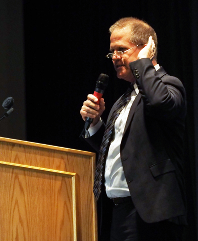 "Nevada Lt. Gov. Mark Hutchison speaks about the ""What's Next Nevada?"" project at Bonanza High School in Las Vegas, Tuesday, May 17, 2016. An alliance of community leaders met to  ..."