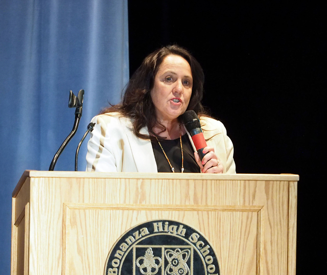 "Betsy Giles, director of National Board Certification for the Clark County Education Association, speaks about the ""What's Next Nevada?"" project at Bonanza High School in Las Veg ..."
