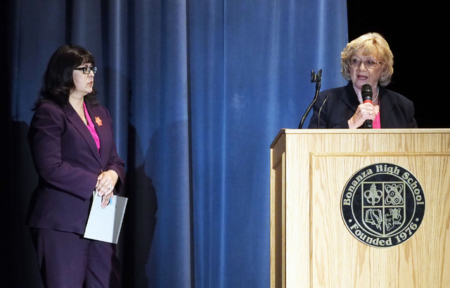"Nevada Assemblywoman Irene Bustamante Adams, left, listens as Nevada Sen. Joyce Woodhouse, speaks about the ""What's Next Nevada?"" project at Bonanza High School in Las Vegas, Tue ..."
