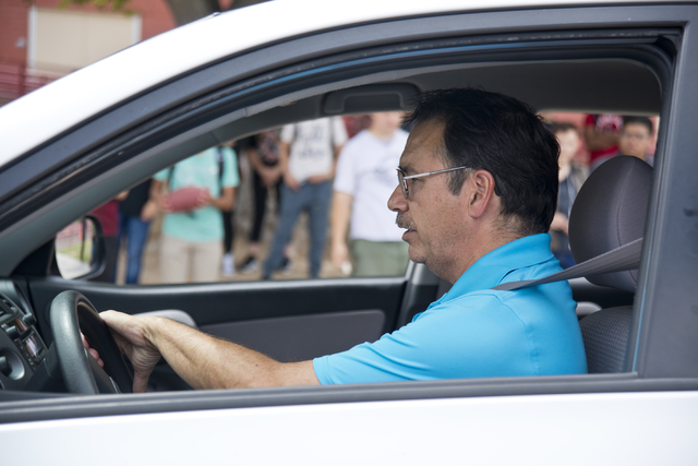 Driver's education instructor Mike Grady teaches his students how to parallel park a car at Valley High School in Las Vegas on Friday, May 20, 2016. (Daniel Clark/Las Vegas Review-Journal) Follow  ...