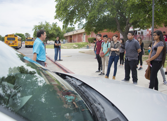 Driver's education instructor Mike Grady teaches his students how to park a car at Valley High School in Las Vegas on Friday, May 20, 2016. (Daniel Clark/Las Vegas Review-Journal) Follow @DanJClar ...