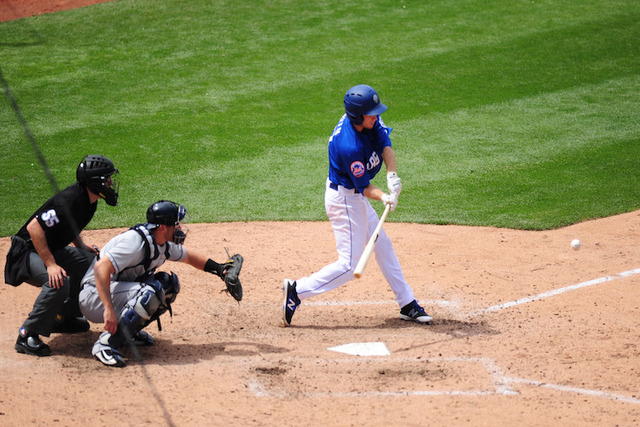 Las Vegas batter Ty Kelly hits a double in the seventh inning of their Triple-A minor league baseball game against Tacoma at Cashman Field in Las Vegas Sunday, May 1, 2016. Tacoma defeated Las Veg ...