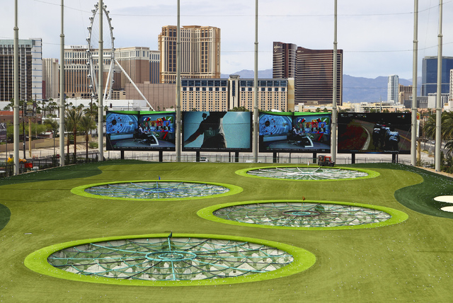Part of the driving range at Topgolf is shown during a family and friends day ahead of the official opening in Las Vegas on Tuesday, May 17, 2016. Topgolf, which spans four levels and 105,000 squa ...