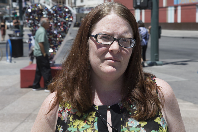 Michelle Hutchins of Henderson is interviewed near the Container Park at Fremont Street on Friday, May 13, 2016, in Las Vegas. Erik Verduzco/Las Vegas Review-Journal Follow @Erik_Verduzco