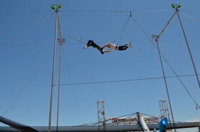 Christopher Ries catches Paul Green during a Trapeze Las Vegas demonstration on Bob Christians Day May 1, 2016. Green, 68, started training in trapeze at age 65. Ginger Meurer/Special to View