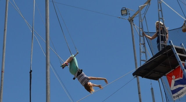 Trapeze Las Vegas invited anyone to try a swing or two on the high trapeze in honor of Bob Christians Day May 1, 2016. Ginger Meurer/Special to View
