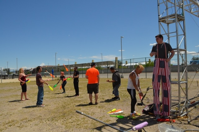 Instructors and students from Trapeze Las Vegas demonstrate stilts and juggling during the Bob Christians Day May 1, 2016. Ginger Meurer/Special to View
