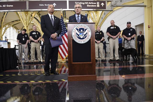 Transportation Security Administration (TSA) Administrator Peter Neffenger speaks at a press conference at Ronald Reagan Washington National Airport on Friday, May 13, 2016. (Sait Serkan Gurbuz/AP)