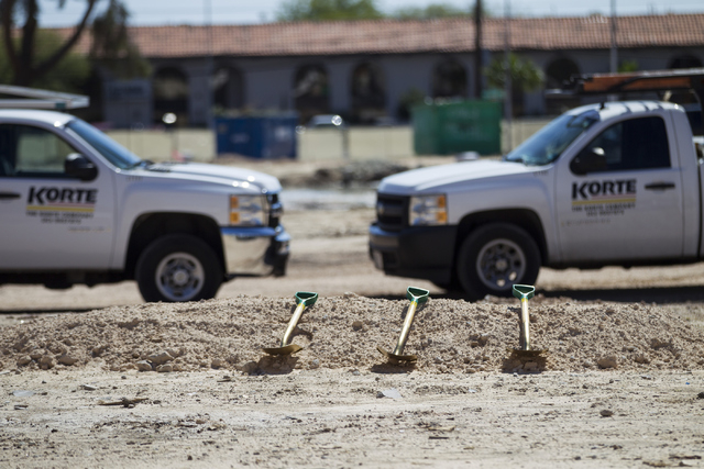 """The future site of the 756-bed building, """"U District,"""" that will house UNLV students at 4259 South Maryland Parkway is seen during a groundbreaking ceremony on Tuesday, May 3, 20 ..."""
