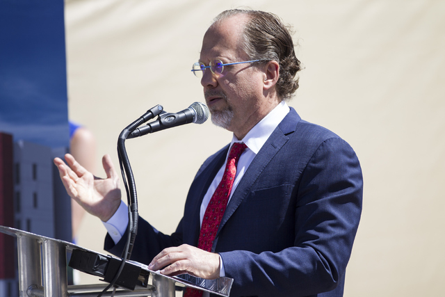 "John Midby, vice president of acquisitions for Midby Companies, speaks during the groundbreaking ceremony for a 756-bed building, ""U District,"" that will house UNLV students at 4 ..."