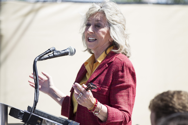 """Congresswoman Dina Titus, D-Nev., speaks during the groundbreaking ceremony for a 756-bed building, """"U District,"""" that will house UNLV students at 4259 South Maryland Parkway on  ..."""