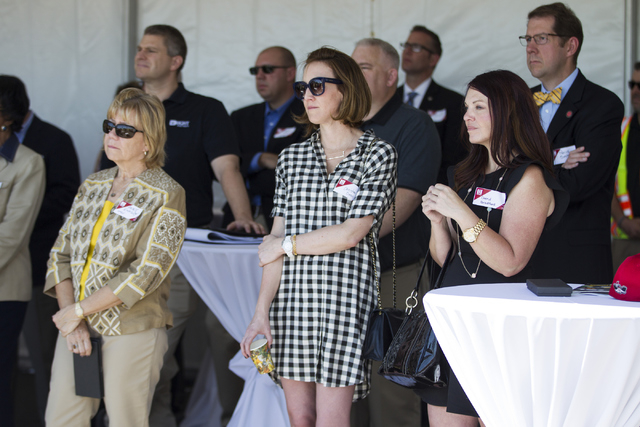 """People listen during the groundbreaking ceremony for a 756-bed building, """"U District,"""" that will house UNLV students at 4259 South Maryland Parkway on Tuesday, May 3, 2016, in La ..."""