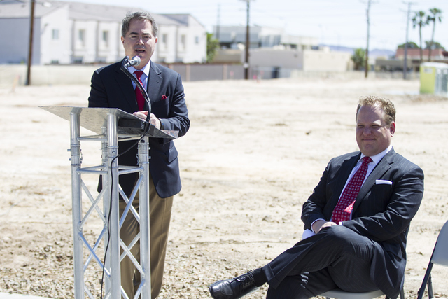 "UNLV President Len Jessup, left, speaks during the groundbreaking ceremony for a 756-bed building, ""U District,"" that will house UNLV students at 4259 South Maryland Parkway on T ..."