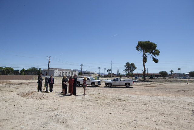"The future site of the 756-bed building, ""U District,"" that will house UNLV students at 4259 South Maryland Parkway is seen during a groundbreaking ceremony on Tuesday, May 3, 20 ..."