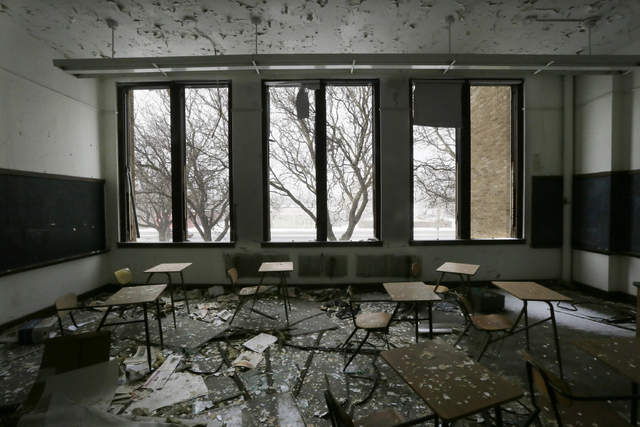 A vacant classroom at Southwestern High School in Detroit is seen in 2015. (Carlos Osorio/The Associated Press)