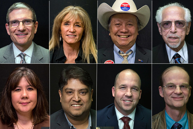 Candidates for U.S. Senate, clockwise from top left, Republicans Joe Heck, D'Nese Davis, Eddie Hamilton, Robert X. Leeds, Tom Heck, Juston Preble, and Democrats Bobby Mahendra and Liddo Susan O'Br ...