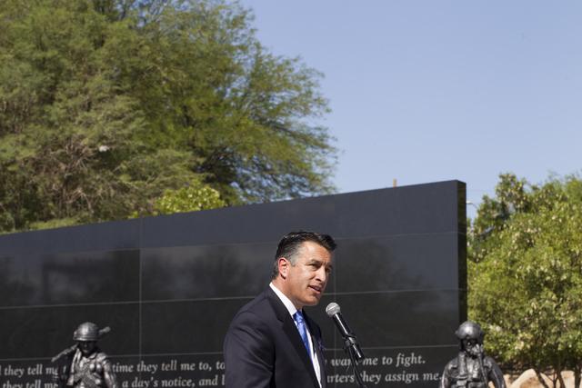 Gov. Brian Sandoval speaks during the Nevada Veterans Memorial dedication ceremony at the Grant Sawyer Building on Friday, May 27, 2016, in Las Vegas. Erik Verduzco/Las Vegas Review-Journal Follow ...