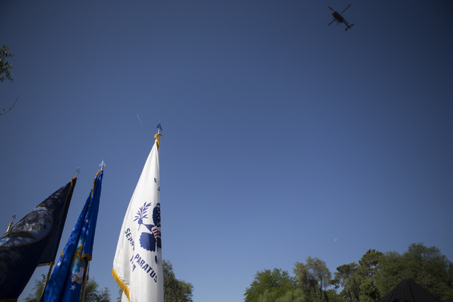 A Nevada National Guard helicopter conducts a flyover during the Nevada Veterans Memorial dedication ceremony at the Grant Sawyer Building on Friday, May 27, 2016, in Las Vegas. Erik Verduzco/Las  ...