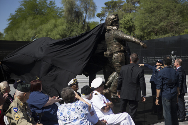 The centerpiece of the Nevada Veterans Memorial following is unveiled during the dedication ceremony at the Grant Sawyer Building on Friday, May 27, 2016, in Las Vegas. Erik Verduzco/Las Vegas Rev ...