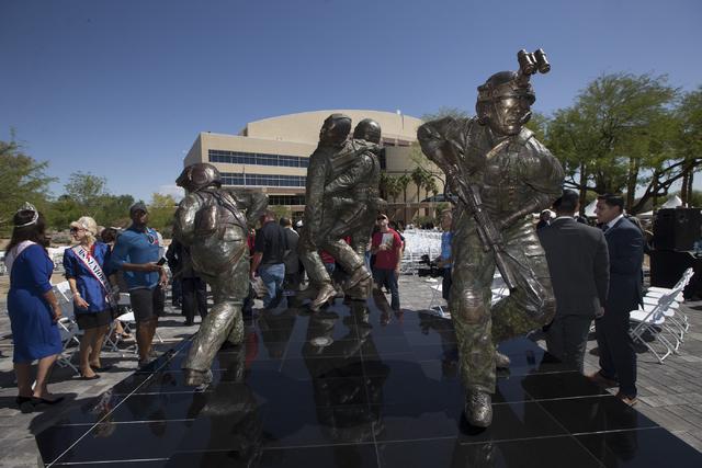 The Las Vegas Veterans Memorial is seen following the dedication ceremony at the Grant Sawyer Building on Friday, May 27, 2016, in Las Vegas. Erik Verduzco/Las Vegas Review-Journal Follow @Erik_Ve ...