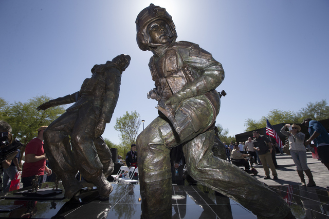 The Nevada Veterans Memorial is seen following the dedication ceremony at the Grant Sawyer Building on Friday, May 27, 2016, in Las Vegas. Erik Verduzco/Las Vegas Review-Journal Follow @Erik_Verduzco