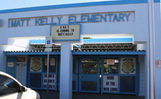 Kelly Elementary School is shown Friday, April 29, 2016, in North Las Vegas. The Clark County School District recently removed and replaced the principal at Matt Kelly School. (Bizuayehu Tesfaye/L ...