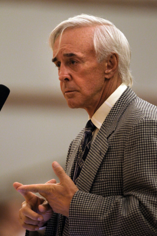 Developer Bill Walters addresses members of the Clark County Commission during a commission meeting on Tuesday, Sept 4, 2011, where he outlined plans to tear up the Bali Hai Golf Club to make room ...