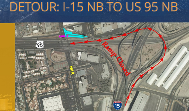 A diagram shows traffic rerouting planned beginning in November and continuing into January 2017. All vehicles that normally use the flyover ramp from northbound I-15 to northbound U.S. 95 will be ...
