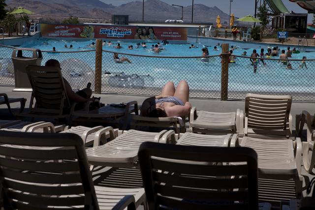 A woman enjoys the sun at the Wet 'n' Wild in Las Vegas on Tuesday, May 31, 2016. Loren Townsley/Las Vegas Review-Journal Follow @lorentownsley
