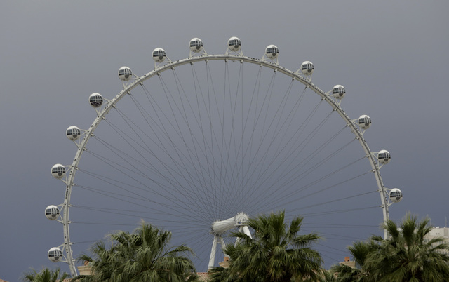 The High Roller is seen under the gray sky as the rain moves into the valley on Tuesday, May 17, 2016. Bizuayehu Tesfaye/Las Vegas Review-Journal Follow @bizutesfaye