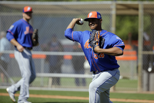 Las Vegas 51s pitcher Stolmy Pimentel is shown with the New York Mets during spring training on Feb. 27, 2016, in Port St. Lucie, Fla. (AP Photo/Jeff Roberson)