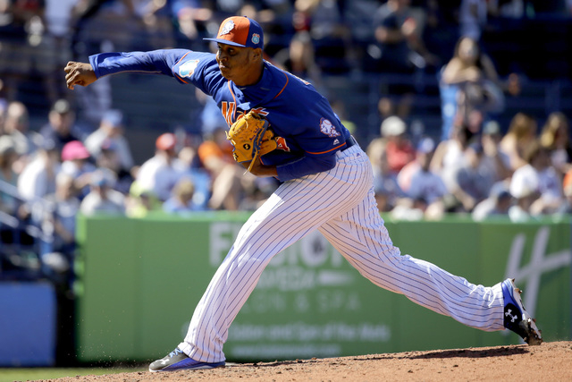 Las Vegas 51s pitcher Stolmy Pimentel is shown during spring training on March 6, 2016, with the New York Mets. (AP Photo/Jeff Roberson)
