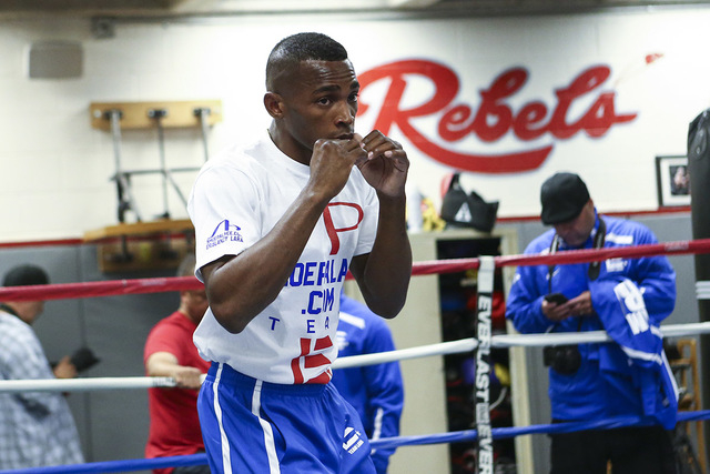 Erislandy Lara works out ahead of his WBA World super welterweight title fight against Vanes Martirosyan, slated for Saturday at the Cosmopolitan hotel-casino,  at UNLV's boxing gym in Las Vegas o ...