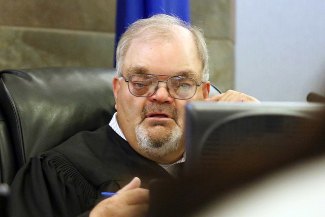 Las Vegas Justice of the Peace Conrad Hafen is shown on the bench on Tuesday, April 12, 2016. (Ronda Churchill/Las Vegas Review-Journal)