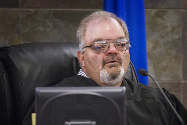 Justice of the Peace Conrad Hafen listens to attorneys speak at Regional Justice Center on Wednesday,  March 9, 2016. (Jeff Scheid/Las Vegas Review-Journal) Follow @jlscheid