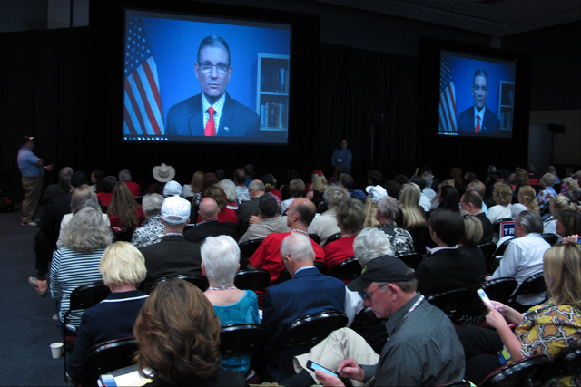 U.S. Rep. Joe Heck, R-Nev., who is running for the U.S. Senate, addresses the Nevada GOP State Convention in a pre-recorded video Saturday, May 14, 2016, at the Reno-Sparks Convention Center. (Sco ...