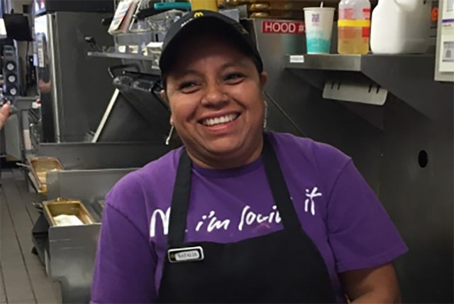 Natalia Cruz, 45, is shown in a photo while working at the McDonald's at 2866 S. Nellis Boulevard. Cruz was killed during an apparent murder-suicide Monday afternoon at her southeast valley apartm ...